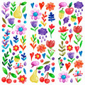 Cute garden flower and plants with fruits and berries For invitation, kindergarten, wedding invitations, nursery