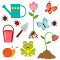 Cute gardening icons Royalty Free Stock Image