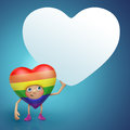 Cute gay Valentine heart cartoon holding banner Royalty Free Stock Images