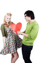 Cute geeky asian caucasian couple Stock Photo