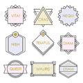 Cute geometrical line vintage emblems and labels set on white Royalty Free Stock Photo