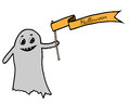 Cute ghost gets a ribbon with inscription Halloween Royalty Free Stock Photo