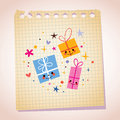 Cute gift characters note paper cartoon illustration Royalty Free Stock Photo