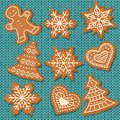 Cute gingerbread elements on knitted background