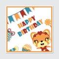 Cute gir fox and birthday elements frame vector cartoon Royalty Free Stock Photo