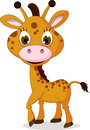 Cute giraffe cartoon smiling illustration of Stock Photography