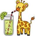 Cute giraffe drinking refreshment of lemonade