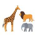 Cute giraffe, elephant and lion cartoon