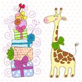 Cute Giraffe with a lot of gifts Royalty Free Stock Image