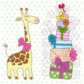 Cute Giraffe with a lot of gifts Stock Image