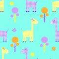 Cute giraffe seamless childlike  pattern Royalty Free Stock Photo