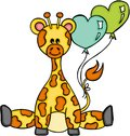 Cute giraffe sitting with heart shaped balloon