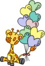 Cute giraffe sitting with heart shaped balloons