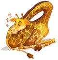 Cute giraffe sleeping alone Royalty Free Stock Photo