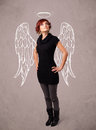 Cute girl with angel illustrated wings on grungy background Royalty Free Stock Photography