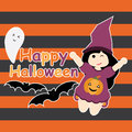 Cute girl as witch, bat and ghost cartoon, Halloween postcard, wallpaper, and greeting card