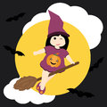 Cute girl as witch and bat on night sky background cartoon, Halloween postcard, wallpaper, and greeting card