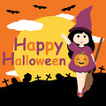 Cute girl as witch on grave and night background vector cartoon, Halloween postcard, wallpaper, and greeting card