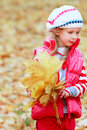 Cute girl with autumn leaves Royalty Free Stock Photos