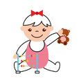 Cute girl baby with toys avatar character