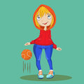 Cute girl with a ball playing basketball fun Stock Photo