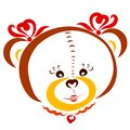 Cute girl bear with bows on the ears, decorations in the shape of hearts