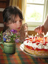 Cute girl with birthday cake Stock Photography