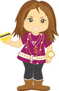 Cute girl bling teenager holding credit card Royalty Free Stock Images