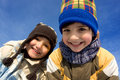 Cute girl and boy winter portrait Stock Photos
