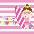 Cute girl bring surfing board and ball cartoon, Summer postcard, wallpaper, and greeting card
