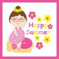 Cute girl bring swim ring and ball vector cartoon, Summer postcard, wallpaper, and greeting card