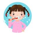 Cute girl brushing her teeth