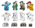 Cute Girl with a Camera. Set of different Cameras. Man and Woman in different poses with a Camera. Vintage Photocamera