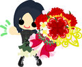 A cute girl and carnations