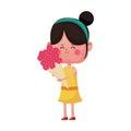 Cute girl cartoon icon