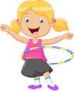 Cute girl cartoon twirling hula hoop Royalty Free Stock Photo