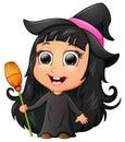 Cute girl cartoon wearing witch costume