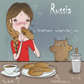 Cute girl with cat eat Royalty Free Stock Photo