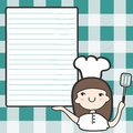 Cute girl chef empty space cartoon illustration Stock Photography