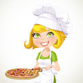 Cute girl chef offers a taste of pizza isolated on white background Royalty Free Stock Photography