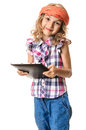 Cute girl child smilling multimedia tablet a and beautiful with red bandana looking happy and holding a pc in hands isolated on Stock Images