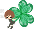 Cute girl and clover