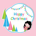 Cute girl and colorful Xmas tree frame vector cartoon, Xmas postcard, wallpaper, and greeting card