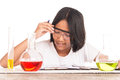 stock image of  Cute girl doing science experiment