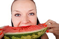 Cute girl eating fresh watermelon Stock Images