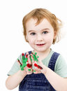 Cute girl with finger paint in light grey background Royalty Free Stock Photos