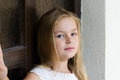 Cute girl five years old portrait of with blond hair Stock Photo