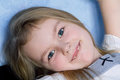 Cute girl five years old portrait of toothless with blond hair Royalty Free Stock Images