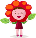Cute girl in flower costume illustration of isolated Stock Photos