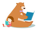 Cute girl and fluffy bear are reading a book .